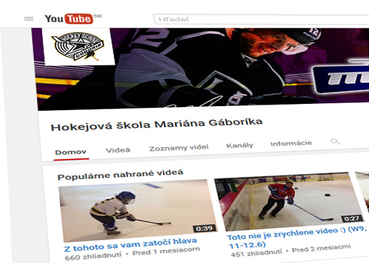 Hokejová škola Mariána Gáboríka - youtube chanel